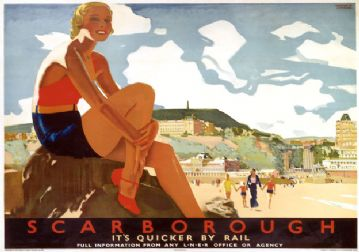 Scarborough Beach, Yorkshire. LNER Vintage Travel Poster by Andrew Johnson. 1933
